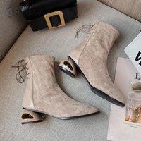 Toe CHAXIAOA Moda Mulheres curto botas Outono Praça Inverno Flock Botim Quente Aumentar Grosso meninas sapatos de salto alto X356