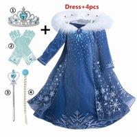여자 공주를위한 새로운 드레스 할로윈 코스프레 의상 풀 슬리브 겨울 눈 어린이 의류 4- 아이 Vestidos LJ200923
