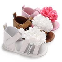 Große Blume Baby Mädchen Schuhe Sommer Säuglings Kleinkind Schuhe Erste Wanderer Weiche Unterseite Rutschfeste PU-Leder Neugeborenes Baby Schoenen