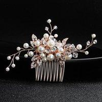 Saç Klipler Barrettes SLBLidal Gül Altın Kablolu Rhinestones Kristaller İnciler Çiçek Düğün Tarak Gelin Başlığı Aksesuarları Nedime