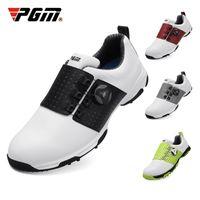 PGM sapatos de golfe homens sapatos de esportes borracha macia e confortável couro de microfibra sapatos à prova d 'água girando laços sneakers
