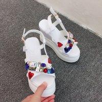 Plate-forme scintillant strass solaire 12 centimètres Cunha sauts sandales multicolores cristal gemme rouge coeur zapatos sandalias plage chaussures de plage fa3r