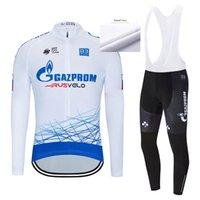 겨울 가즈프롬 팀 사이클링 저지 자전거 바지 스포츠 남성 긴팔 티셔츠 로파 Ciclismo 열 양털 자전거 타이츠 Culotte