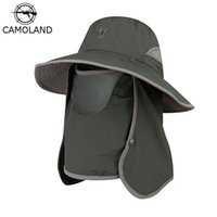 Chapéus de Brim Grande Chapéus Camoland VERÃO UPF50 + Sol para Mulheres Homens Bucket Chapéu Com Pescoço Flap Proteção UV Ao Ar Livre Longo Caminhadas Pesca Tampões