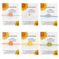 Nuovo Braccialetto di fascino per amicizia Coppie Sunflower Daisy Pendant Braccialetti Bangles Rosso Lucky Seven Knots Braccialetto Donne Uomini Assistono gioielli