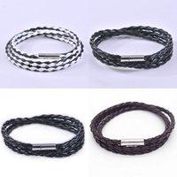 Bracelets de bracelets en cuir pour hommes Noir / marron Magnétique en acier inoxydable en acier inoxydable en acier inoxydable doublure bracelet en titane pour hommes 339 N2