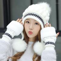 Girls Thicken Ski Snow Cap New Fashion Fur PomPoms Winter Women Beanie Hats Female Skullies Warm Gloves + Knit Hat Set1