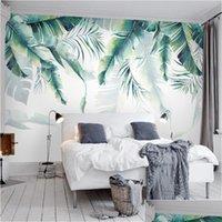 Personalizado foto mural papel de parede tropical chuva floresta palma banana folhas parede pintura quarto sala de estar sofá backgrou jlliyq soif