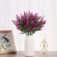 장식 꽃 화환 인공 라벤더 식물 6 조각, 실물 같은 자외선 방지 가짜 관목 녹지 덤불 꽃다발
