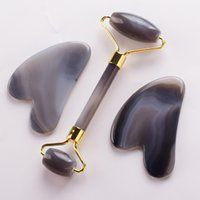 عقيق الوجه الأسطوانة و gubha مجموعة الحجر الطبيعي كشط مجلس أدوات للوجه تدليك الصحة الرقبة الجمال الجلد التخلص من السمك