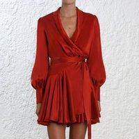 Элегантный шелковый сатинское платье женщин сексуальная V шеи фонарика рукава рюмки sash mini wrap платья женская линия длинные рукава платье vestido lj200826