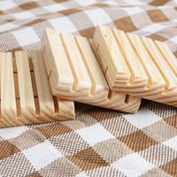 Soporte de jabón de madera hecho a mano Piñón de jabón de pino Platos de jabón de baño con groove herramienta de almacenamiento de cocina multi funcional YYE3520