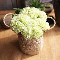 Guirnaldas de flores decorativas 7.5 cm 5pcs Peony Head Seda Flor artificial Boda Decoración del hogar DIY Bush Fake Regalo Caja Flower1