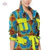 Kadın Trençkotlar Afrika Dashiki Giyim Kadın Baskı Gömlek Özel Uzun Kollu Tops Moda Yazdırma Afrika Giyim WY1894