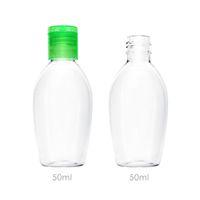 50ml Bottiglia di sanificazione della mano 50ml bottiglie di lavaggio della mano vuote Bottiglie di plastica dell'animale domestico della bottiglia di plastica per disinfettante con il cappuccio della flip verde del mare bianco di trasporto CCE4236