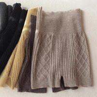 Cintura cálida Leggings cortos de lana Pantalones cortos de tejido Mujeres Otoño e invierno Cintura alta de cintura altas Sweater inconsútil Pantalones cortos