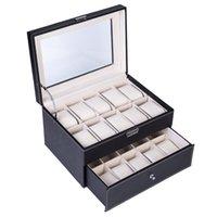 Caixa de Couro Coleção Caixa 20 Compartimentos Watch Display Mostrar caixa Caixa Dual Camadas Elegant Jewelry Collection Storage