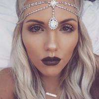 Yeni Kristal Alın Moda Su Damlası Elmas Alın Zincir Kaş Kolye Moda Bohemian kadın Düğün Headdress