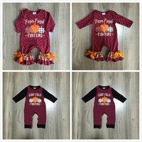 Día de Acción de Gracias Girlymax Baby Girls Boys Toddler Farm Fresh Pumpkin Ropa Infantil Romper Polka Dot Algodón Romper Ruffles LJ201023