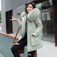 Fitaylor Yeni Kış Parkas Kadınlar Büyük Kürk Yaka Kapşonlu Ceket Kalınlığı Pamuk Yastıklı Palto -30 Derece Kar Dış Giyim 210203