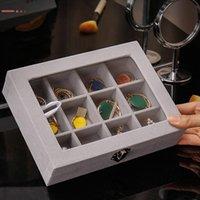 Jóias de vidro de veludo Exposição de estilo coreano Caixa de jóias da placa de jóias da placa de jóias anel de armazenamento multi-função