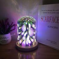 جديد النار شجرة الفضة زهرة 3d ملون زجاج الجدول مصباح، خشبي الإبداعية السرير ضوء الليل، مصباح الجدول السماء المرصعة النجومية