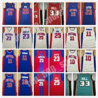 Hombres cosidos Dennis 10 Rodman Isiah 11 Thomas Blake 23 Griffin Derrick 25 Rose Grant 33 Hill Jersey Basketball 2021 Camisetas universitarias