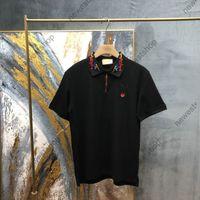 2021 Nova Europa Mens Camiseta Alta Qualidade Algodão Patchwork Polo Bordado Duck Letra de Dragão Camisetas Designer Casual Tops T-shirt T-shirt