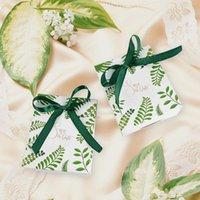 Regalo envolver 10 unids creativo clásico verde palma hojas caja de caramelo bolsas tropicales bolsas de papel de boda a la baby shower decoración de cumpleaños suministros