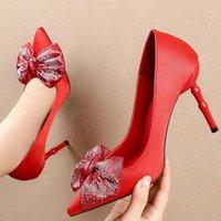 حذاء اللباس 2021 حجم 34-40 المرأة 10 سنتيمتر المتطرفة عالية الكعب أشار تو عدن الأحمر الحرير بلينغ فراشة عقدة مضخات حزب الزفاف الأحذية 1