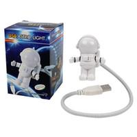 우주 비행사 야간 가벼운 유연한 LED 독서 램프 창조적 인 미니 USB 튜브 우주선 노트북 PC 키보드 노트북 테이블 책상 조명