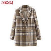 Tangada Kadınlar Kış Kahve Ekose Yün Blazer Ceket Vintage Kruvaze Uzun Kollu Kadın Giyim Şık DA178 Tops
