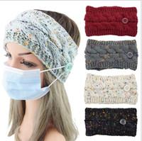 Punto de lana de lana de las mujeres invierno cálido confeti pelo envoltura con máscara de cara Botón de la mascarilla Hairbands Peluquería de maquillaje del día de fiesta del día de San Valentín E121706
