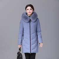 YICIYA winter Women duck down coat parka long ultralight natural feather Real fur luxury high quality duck down jacket