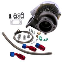 Universal Turbo Eau + Huile GT30 GT3037 GT3076R Turbocompresseur 500HP + Drain d'huile Retour Ligne d'alimentation Bride A / R .6 Turbine A / R .82
