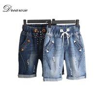 DREAWSE Kadın Şort Artı Boyutu 5XL Harem Pantolon Yaz Yırtık Kot Kısa Pantolon Rahat Lace Up Capris Geniş Bacak Denim Şort LJ200808