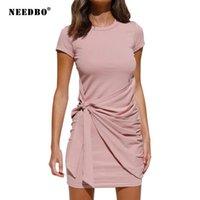 Платья для вечеринок Иноподобное Сплошное цветное платье Женщины Летняя сексуальная высокая талия с коротким рукавом лук нерегулярной одежды Sundress 2021
