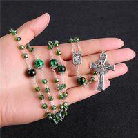 Komi Vintage Runde grüne Gras Stein Perle Kreuz Anhänger Halskette Rasary Katholische lange Halskette Schmuck Großhandel R-149