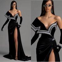 Siyah Kadife Abiye giyim Sweep Tren Omuz Kapalı Mermaid Gelinlik Modelleri Yüksek Yarık İnciler Vestidos Örgün Ünlü Önlükler