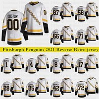Pittsburgh Penguins 2021 Reverse Retro Jerseys 87 Sidney Crosby 66 Lemieux 71 Malkin 58 Letang Custom 모든 숫자 Hockey Jersey
