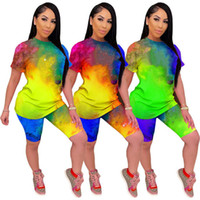 Women Summer tie-dye Tracksuit two piece pullover Short Sleeve T-shirt+Shorts Jogging Suit Tee Tops Shorts suit 3029