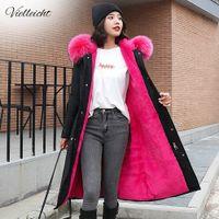 Vielleicht -30 graus desgaste de neve parkas longas jaqueta de inverno mulheres pele com capuz roupas de pele feminina revestimento de inverno grossa casaco de inverno mulheres 20124