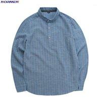 NORMEN الرجال الفرقة طوق عارضة قميص القطن الكامل الأكمام الكتان الأزياء مخطط قمصان الرجال يتأهل قميص الأعمال الاجتماعية الرجال hot1