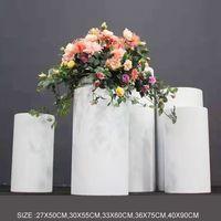 Düğün Sahne Beyaz Ferforje Silindirik Tatlı Masa Beş parçalı Hoşgeldiniz Alan Kek Standı Töreni Pavilion Çiçek Masa EEA23