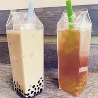 1 قطع زجاجات المياه الحليب مربع متعة شفافة الأزياء شرب الكرتون غلاية الكمال هدية المشروبات الكرتون غلاية لعصير القهوة الشاي 201204