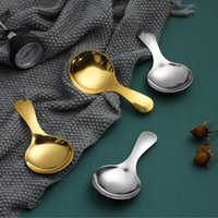 High Quality 4.5*9cm Round Stainless Steel Mirror Polished Golden Silver Small Spoon Multi-function Dessert Spoon Dinnerware