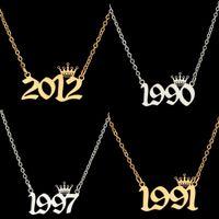 Année de naissance Numéro Colliers Couronne Personnalisé Collier initial Pendentifs pour Femmes Filles Bijoux d'anniversaire Année spéciale 1980-2019 132 J2