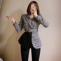 LLZACOOSH 2021 Новая осень и зимние женщины тонкий твид пэчворк драпированные пальто Корея Chic Office для формальной куртки