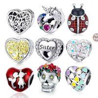 Diğer Codemonkey 100% Gerçek 925 Yeni Gümüş Kalp Boncuk Fit Orijinal Tasarım Bilezik Aşk Charms DIY Takı Yapımı1