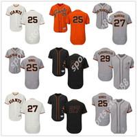 Пользовательские мужчины женщины молодежи SF гигантов Джерси # 25 Барри Облигации 27 Хуан Marichal 29 Jeff Samardzija оранжевый серый белые дети девушки бейсбол